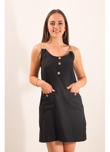 Reyon İp Askılı Keten Elbise Siyah Siyah